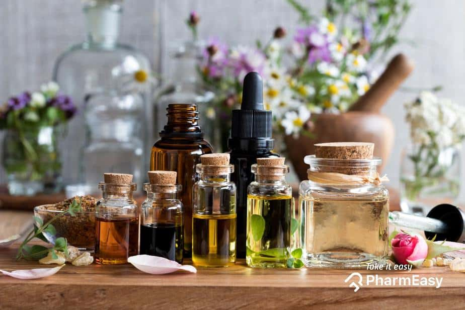 A collection of essential oils